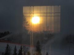 Sunrise reflection with ski slope (peggyhr) Tags: orange tree yellow sunrise gold edmonton rooflines