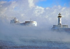 """Paul R. Tregurtha""  at Duluth, Minnesota, in Winter, December 23, 1998 (Ivan S. Abrams) Tags: coastguard minnesota turkey boats us nikon lighthouses ships cargoships trains istanbul steam greatlake"