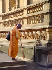 Monk, Sweeping (wrsfolio) Tags: srilanka kalaniya