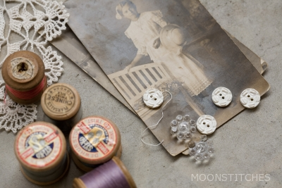 wooden spools and buttons