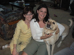 Kristy,  Gina, and Gina's dog