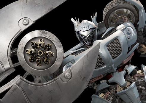 Transformers pelicula Jazz con escudo