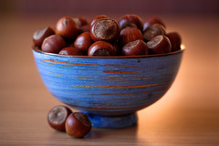 Hazelnuts in a Blue Bowl (Basak Gurbuz Derman) Tags: wood blue stilllife brown hazelnuts mywinners
