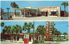 Rip Tide Motel and Apts and gas station, Panama City Beach, Florida (stevesobczuk) Tags: florida motel gasstation americana panamacitybeach riptide miraclestrip redneckriviera floridiana vintagepostcards frontbeachrd