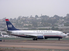 US Airways 737 (So Cal Metro) Tags: plane airplane airport san sandiego aircraft jet airline boeing airliner 737 usair usairways americawest 733 lindberghfield avaition 737300 n332aw