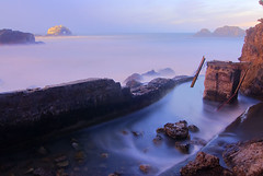 Seal Rock from the Ruins (Oldvidhead) Tags: sf sanfrancisco longexposure twilight nikon ruins bravo sutrobaths oceanbeach bluehour d200 nikondigital hdr magichour sealrock ericlarson nikond200 oldvidhead elarson