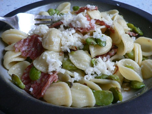 Pasta with Broad Beans and Salami