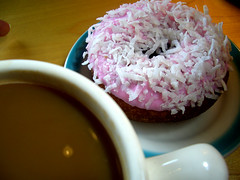 Coffee and a donut.  Yes that's evil coconut