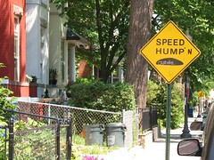 Modified Speed Hump Sign on Monroe Street NW, by Mr. T in DC