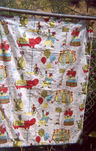 Vintage circus-themed curtain