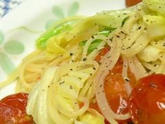 キャベツとプチトマトのスパゲティ