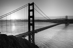 Most Photographed (Amar Raavi) Tags: goldengatebridge goldengate sanfrancisco sunrise clouds cityscape bridge architecture iconic scenic landmark sanfranciscobay bayarea california outdoors batteryspencer sausalito goldengatenationalrecreationarea suspensionbridge longest wondersoftheworld silhouette mostphotographed blackandwhite monochrome photographer