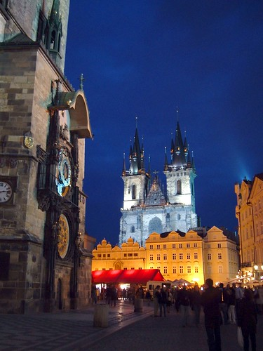 Night view of central square, Prague