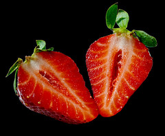 Strawberry on black (Kat...) Tags: red black rouge strawberry noir strawberries fraise fraises 3w