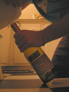 A man clutching an empty bottle of wine, kneeling to the porcelin god.