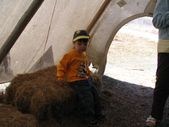 sitting in the teepee (lsawatz) Tags: winnipeg may 2007 fortwhytecenter