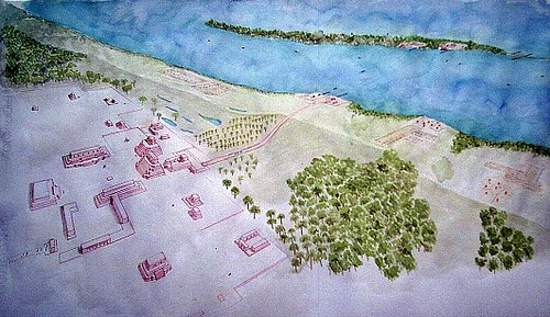 Oxtankah & Isla de Tamalcab - Hypothetical Reconstruction Drawing