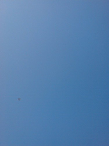 blue sky and an airplane