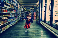 Supercharged (doublecappuccino) Tags: run supermarket aisle supergirl ever frozenfoodsection 24hoursofflickr sheneverwalksinsupermarkets