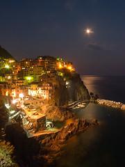 Night, Manarola, Italy (jprowland) Tags: ocean longexposure sea vacation italy moon mountain beach rock stone night coast perfect europe tuscany anawesomeshot