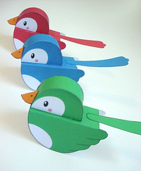 - Flickr Birdies - (Warm 'n Fuzzy) Tags: blue red cute green birdie paper toy craft kawaii papercraft flcikr papertoy