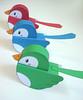 - Flickr Birdies - (Warm 'n Fuzzy) Tags: blue red cute green birdie paper toy craft kawaii papercraft flcikr papertoy