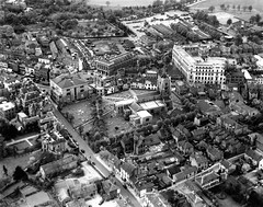 Chelmsford. The town centre  in 1950. (Stuart Axe) Tags: chelmsford essex aerialphotograph aerial birdseye uk england city town towncentre bw sepia 1940s 1950s history historic scan interesting unlimitedphotos blackandwhite highchelmershoppingcentre catherdral unitedkingdom scanned gb greatbritain postcard countytown countyofessex cityofchelmsford