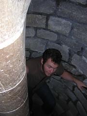 Gary stumbling up the stairs