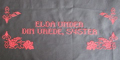 Elda under din vrede (Cross-stitch ninja) Tags: sister embroidery text craft rage hanging feminism embroidered wallhanging craftivism embroider crosstitch