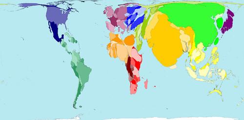 Mapa distorsionado según población