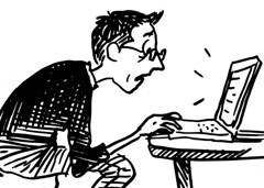 me reading blog
