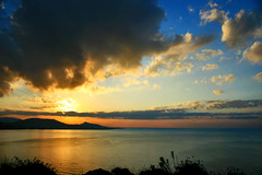 golden moment (esther**) Tags: blue light sunset sea colors yellow clouds landscape golden bravo view silhouettes greece topf100 rhodes refection helluva interestingness40 magicdonkey interestingness28 interestingness71 interestingness53