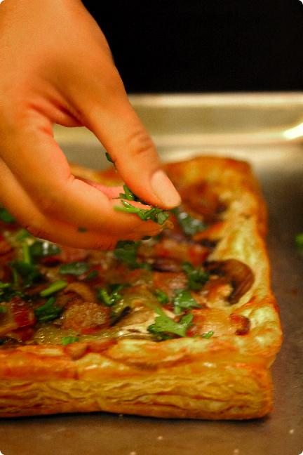 applewood bacon mushroom tart