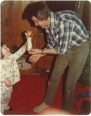 Giving Dad the angel for the tree