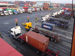 Load and discharge (stevenbrandist) Tags: portofliverpool containerterminal truck merseyside straddlecarrier