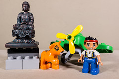 Jake enjoys flying off to exotic locations (MuTant 99) Tags: home lego duplo minifigures animals buddha statue airplane canonsl1