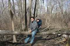 Daddy and me on a fallen tree