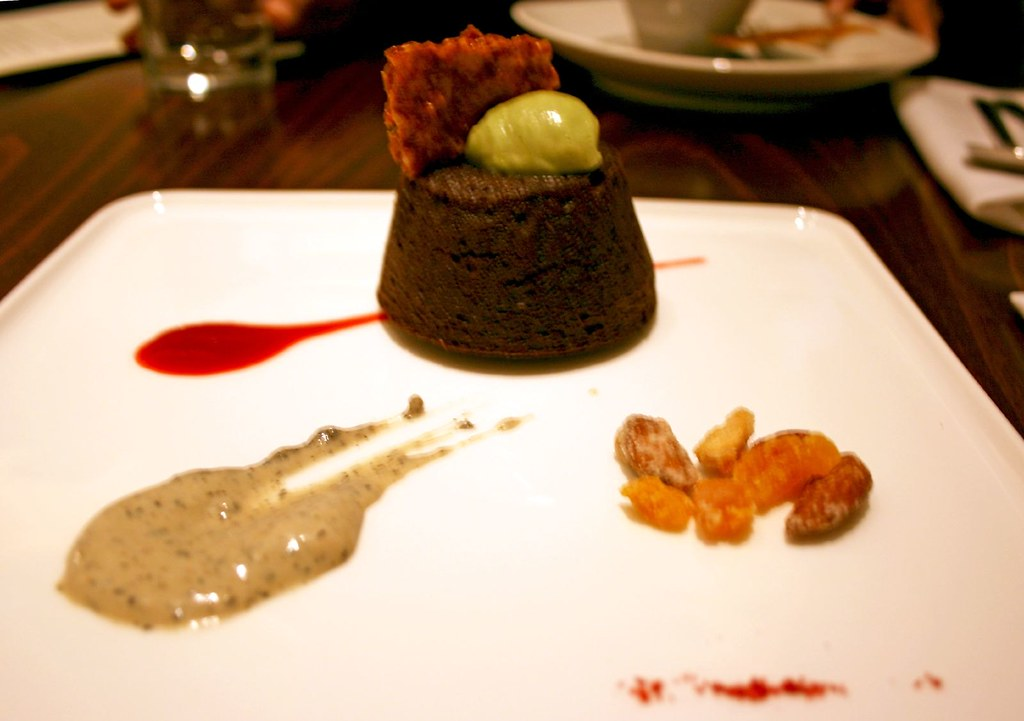 Plate of Warm Raspberry Mochi Chocolate Cake
