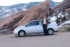 Me and my Toyota Prius at Red Rocks near Denver