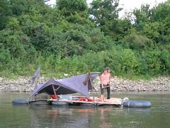 093 - raft from bill's boat (Wes Modes) Tags: trash river diy punk adventure rafting homemade fart omaha raft float innertubes missiouri punkraft