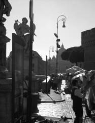 Roma Life (Ladik) Tags: life street city people bw italy sun vatican rome roma church lamp car statue italia afternoon pavement crowd vaticano sidewalk rush stpietro
