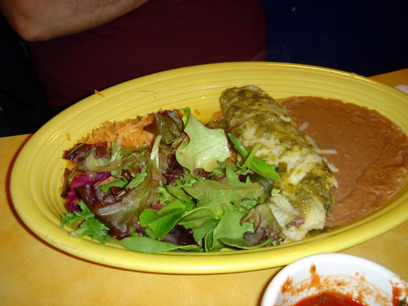 Chicken Tamale with Rice, Beans and Green Salad
