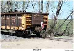 The End (Robert W. Thomson) Tags: railroad train railway trains gondola scrapmetal endoftrain dmvw dakotamissourivalleywestern 1000000railcars
