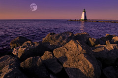 port tonight (Jeff Epp) Tags: sunset moon lighthouse lake ontario canada water composite 510fav port pier niagara fullmoon stcatharines lakeontario coolest portdalhousie abigfave top20landscapeshots20