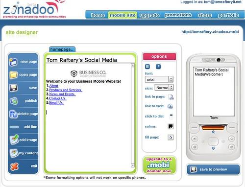 Zinadoo's mobile site creator