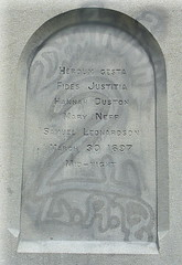 Front inscription, Hannah Dustin monument, Penacook, NH