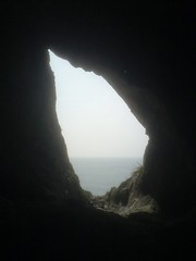 Inside Paviland Cave, looking out