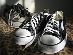 Chucks, new and old (artnoose) Tags: new old black shoes harrison leopard converse chucks