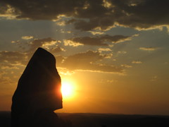 098 the Living Desert sunset (Parkaboy) Tags: sunset summer sculpture sun art rock stone clouds eclipse bush horizon australia newsouthwales outback remote redsky aboriginal shape sunrays distance brokenhill livingdesert barrierranges sculpturesymposium bajoelsoljaguar sundownhill underthejaguarsun