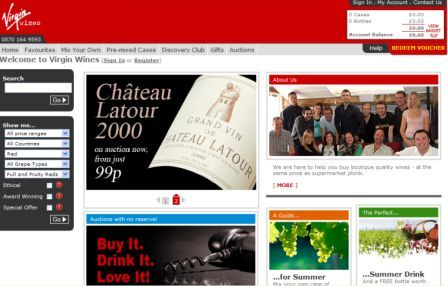 Virgin Wines new homepage